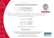 Certificato di conformità DPO